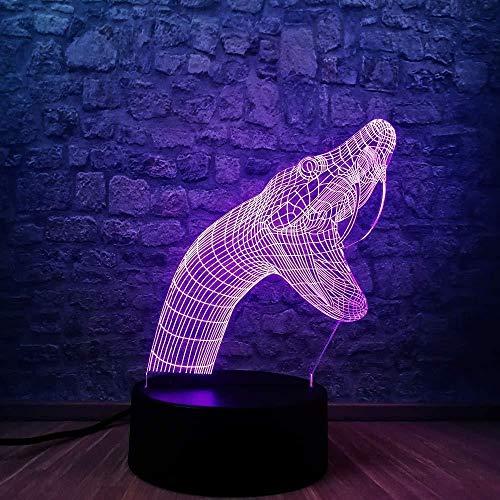 Luz nocturna 3D LED Luz nocturna Tiburón saltador de delfines activo mejor regalo de para niños y niñas Con carga USB, control táctil de cambio de color colorido