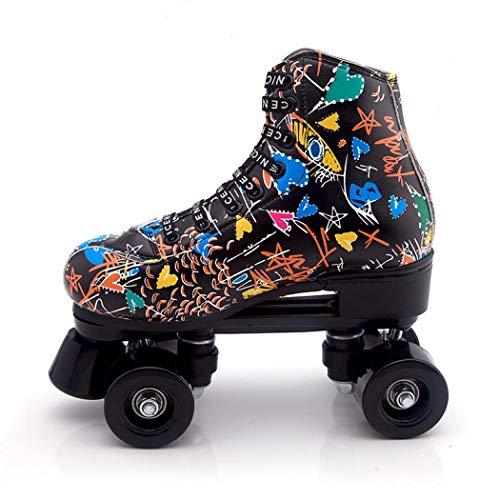 XUDREZ - Patines de patinaje para mujer y hombre, clásico de 4 ruedas de piel sintética de doble fila para interior y exterior, unisex, adulto