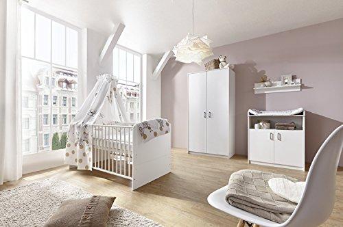 Schardt 11 518 02 00 Kinderzimmer 3 - teilig Classic White bestehend aus, Kombi - Kinderbett, 70 x 140 cm