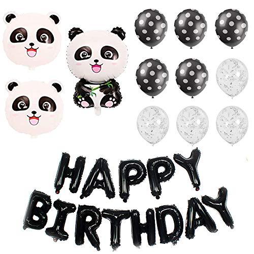 Integrity.1 Panda Ballon Dekorationen, Panda Ballon Set, Geburtstagsfeier Dekoration, Panda Party Mylar Luftballons, Happy Birthday Banner, für Geburtstagsfeiern, Panda Themenpartys