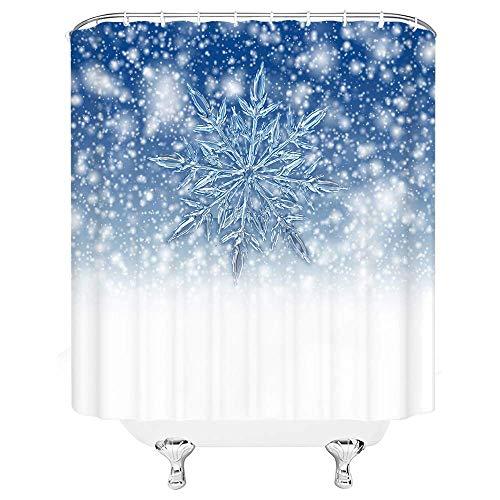 lovedomi Schneeflocke Duschvorhang Weihnachten Schneeflocke Winter Kinder Festliche Frohe Weihnachten Dekor,Einfache Blaue Weihnachten Familie Kinder Neujahr Dekor 72x72 Zoll mit Haken,Blau Weiß