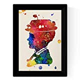 Nacnic Lámina de la Famosa pelicula Mary Poppins (Perfil) en tamaño A4 Poster Estilo explosión de Color Papel 250 gr Marco