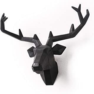 Yunno Black Faux Taxidermy Resin Deer Head in Animal Head Wall Decor Deer Head Wall Mount Sculpture (Black)