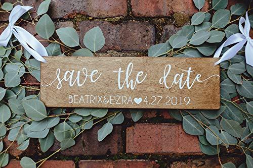 Cartel rústico de madera con texto en inglés 'Save the date' de Cwb2jcwb2jcwb2j, cartel de madera con texto en inglés 'Save the date', para bodas, bodas, citas, fiestas de compromiso, fotos, decoración personalizada, placas de madera, 45,7 x 12,7 cm