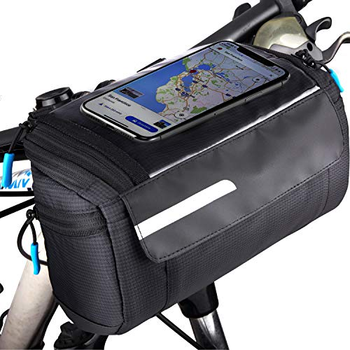 OBOVA Bike Handlebar Bag, Bike Basket Waterproof Compact Quick Release with Large Touch Screen Bike Cell Phone Holder | Bike Storage, Bicycle Front Frame Pouch Accessory for Cycling Cruisers Men Women