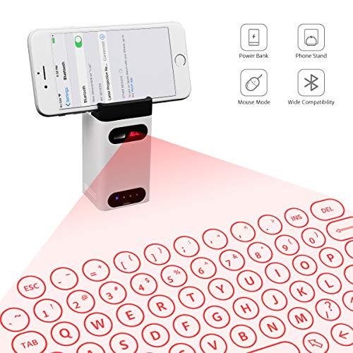 HAOXIN Teclado QWERTY Virtual inalámbrico con Bluetooth para iPhone, iPad, Smartphone, tabletas y PC, con Soporte para teléfono, función de ratón y Conector Tipo C