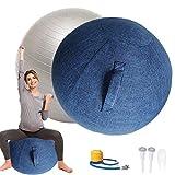 Pelota Pilates Grande55cm / 65cm / 75cm Silla Yogacon Tapa TapóN de Aire Y Herramientas para Pelota de Fitness Pelota de Asiento ErgonóMicos para Oficina y Hogar,Azul,65CM