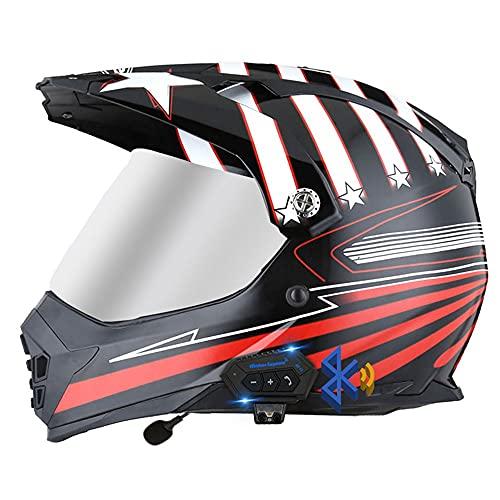 Casco Motocross Bluetooth, Cascos De Cross De Moto Set, con Visores Dobles, Dot/ECE Homologado, Material ABS, Forro Cómodo, Sistema De Ventilación Múltiple