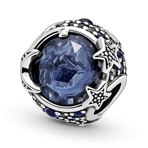 Celestial Blue Sparkling Stars Charm - Authentic S925 Sterling Silver Collection Charm with Cubic Zirconia Charms & Gift Pouch