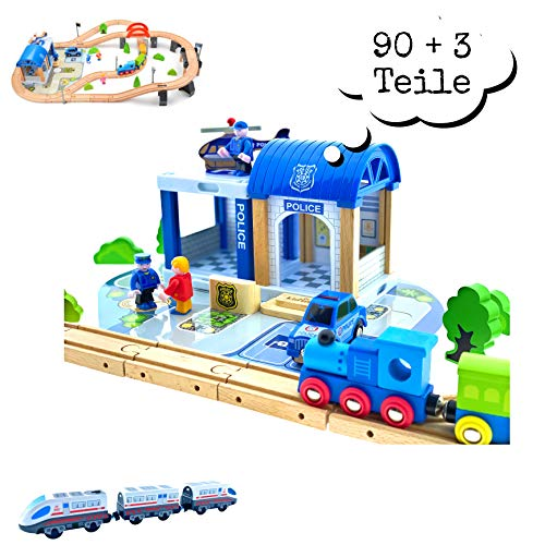 Holzeisenbahn Set Eisenbahn für Kinder / Zug mit Schienen Holzbahn 90 +3 Teile / Polizeistation Polizei / kombinierbar