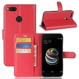 Funda® Flip Portefeuille Coque pour Xiaomi Mi 5X (Rouge)