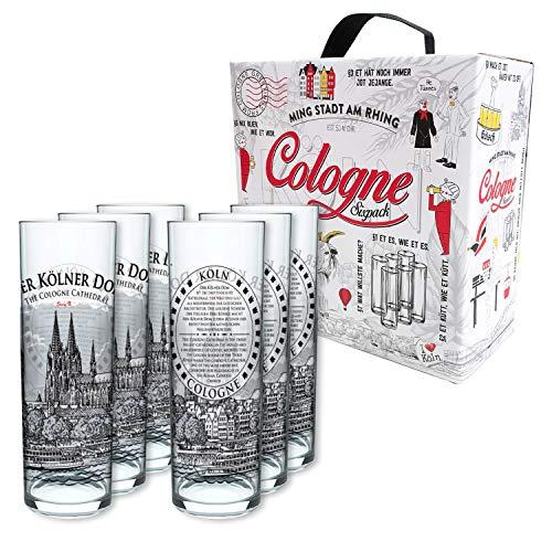 3forCologne Kölschglas   6er Pack je 0,2ml   Kölner Dom illustration   Biergläser, Kölner-Stangen, Trinkgläser