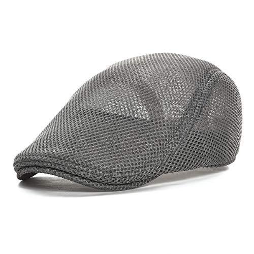 VOBOOM Men Breathable Mesh Summer Hat Newsboy Beret Ivy Cap Cabbie Flat Cap (Grey)