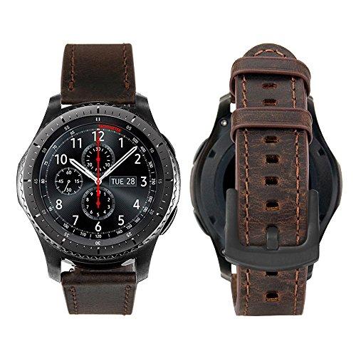 iBazal 22mm Armband Leder Uhrenarmband Armbänder Ersatz für Samsung Gear S3 Frontier/Classic, Samsung Galaxy Watch 3 45mm/Galaxy Watch 46mm, Huawei GT/2 Classic,Ticwatch Pro (Ohne Uhren) - Kaffee