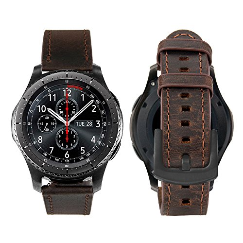 iBazal Cinturino Gear S3 Frontier Classic Pelle 22mm Braccialetto Cuoio Compatibile con Samsung Galaxy Watch 46mm,Huawei Watch GT/2 Classic/Honor Magic,Ticwatch Pro Uomo (Orologio Non Incluso) - Caffè