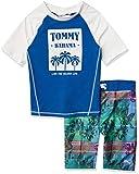 Tommy Bahama Boys' Rashguard and Trunks Swimsuit Set, Blue/White/Tropical, 3T