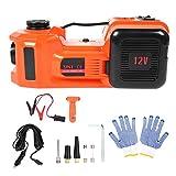 Kit de gato hidráulico eléctrico para coche 3 en 1, juego de linterna de martillo de seguridad, bomba de aire, bomba de aire hidráulica eléctrica portátil multifunción, 12VDC 5T