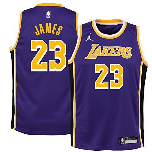 Nike Lebron James Los Angeles Lakers NBA Jordan Brand Boys Kids 4-7 Purple Statement Edition Jersey (Kids 4)