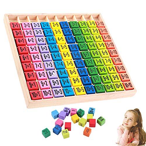 WELLXUNK Tablas Multiplicar,Juego de Tabla de Multiplicar Tabla de Multiplicar de Madera,10x10 ábaco de Madera Matemáticas,para Niños Matemáticas Educativos Juguetes de Madera
