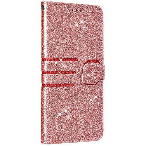 Saceebe Compatible avec iPhone XR Coque Housse Portefeuille Cuir Étui Paillette Brillante Diamant Glitter Strass Pochette Flip Case à Rabat Protection Stand Support,Or Rose
