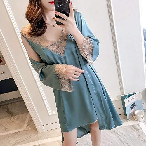 xingguang Conjunto de pijama sexy de encaje con cuello en V y correa de espagueti para mujer (color como imágenes, tamaño: XL)