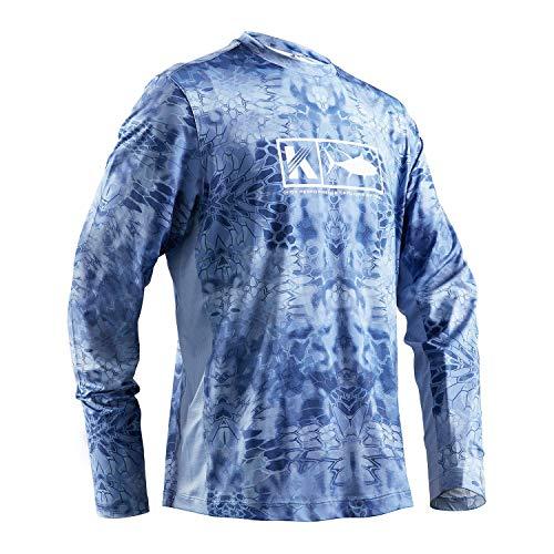 Koofin Performance Angelershirt für Herren, atmungsaktiv, langärmelig, UV-Sonnenschutz 50, schnelltrocknend, kühlende Netz-Seiten, Rashguard, Herren, hellblau, 3X-Large