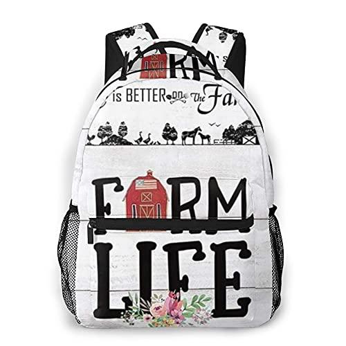 COVASA Lässiger Schulreiserucksack,Rustikaler Bauernhof Familienleben Tiere Land Holzhaus Blumenleben ist besser auf dem Bauernhof,Leichter großer Schüler Kind Erwachsener RückenPack für 15,6 \'Laptop