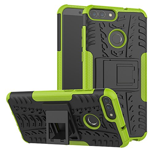 XINYUNEW Funda Huawei P Smart, 360 Grados Protective+Pantalla de Vidrio Templado Caso Carcasa Case Cover Skin móviles telefonía Carcasas Fundas para Huawei P Smart-Verde