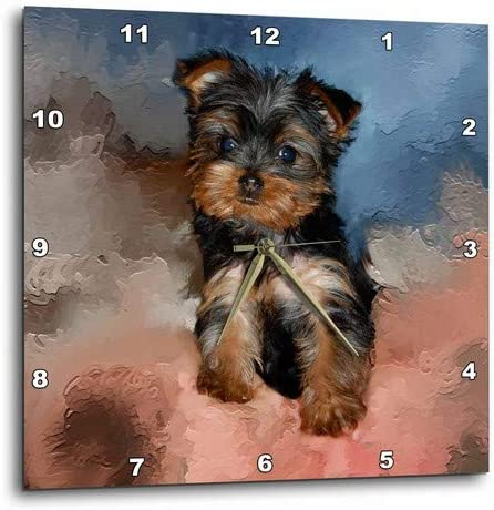 3dRose DPP_3868_3 Toy Yorkie Puppy Challenge the lowest price of Japan 15-Inch by Clock Discount is also underway 15 Wall
