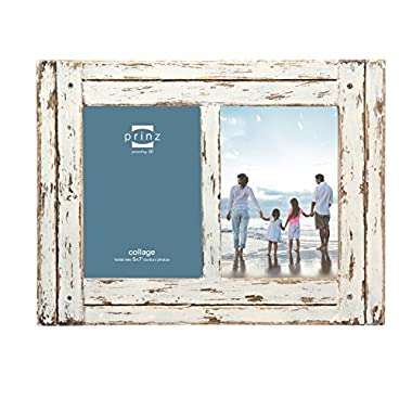 Prinz 2 Opening Homestead Antique Wood Collage Frame, 5 x 7 , White