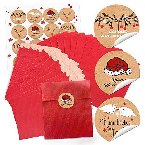 24 czerwone torebki papierowe (13 x 18 cm) + 24 okrągłe naklejki bożonarodzeniowe z tekstem 4 cm; czarno-czerwono-białe (14126) torebki na prezenty dla klientów, pracowników, przyjaciół