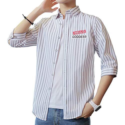 Sukinana シャツ メンズ 七分袖 綿 オシャレ ストライプ カジュアル ビジネス メンズ 服 春 夏 秋 (X-Large, ホワイト)