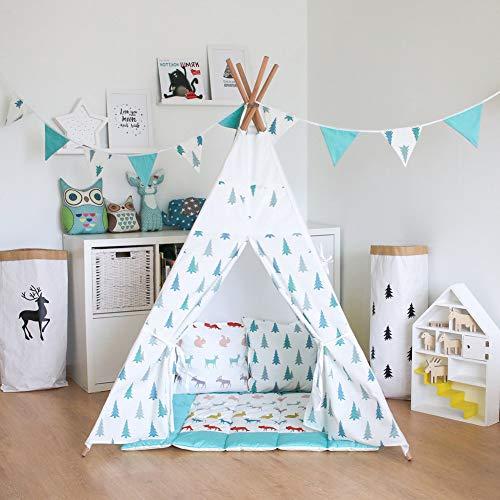 SAsagi Playhouse de Toile Indienne Enfants,Grand Espace Pop-up Tente Princesse intérieur pour Enfants Tente en Bois de la Maison de Jeu Maison Jouet Enfants château-A