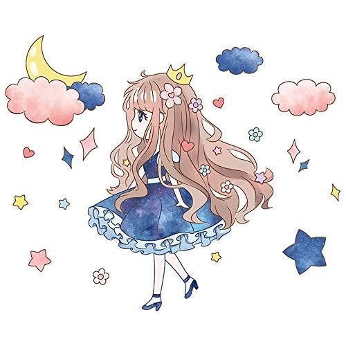 SPFOZ Haus Dekoration [Shijuekongjian] Karikatur-Mädchen-Wand-Aufkleber DIY Dandelion Blumen Wandaufkleber for Kinderzimmer Baby-Schlafzimmer Dorm Haus Dekoration (Color : Girl Sticker)