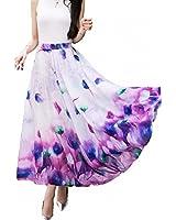 Sinono Women's Floral Maxi Chiffon Long Skirts Full Length Beach Skirt (XX-Large, Purple)