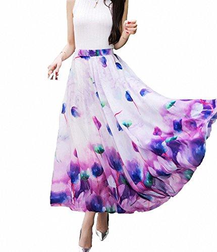 Afibi Women Full/ankle Length Blending Maxi Chiffon Long Skirt Beach Skirt (Large, Design Q) purple