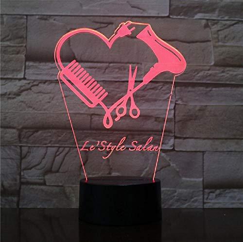Haarstylist schaar 3D LED nachtlampje Gebruikersgedefinieerde kapper Shop naam kapper schaar decoratieve verlichting kapper cadeau remote telefoon bluetooth control kleur