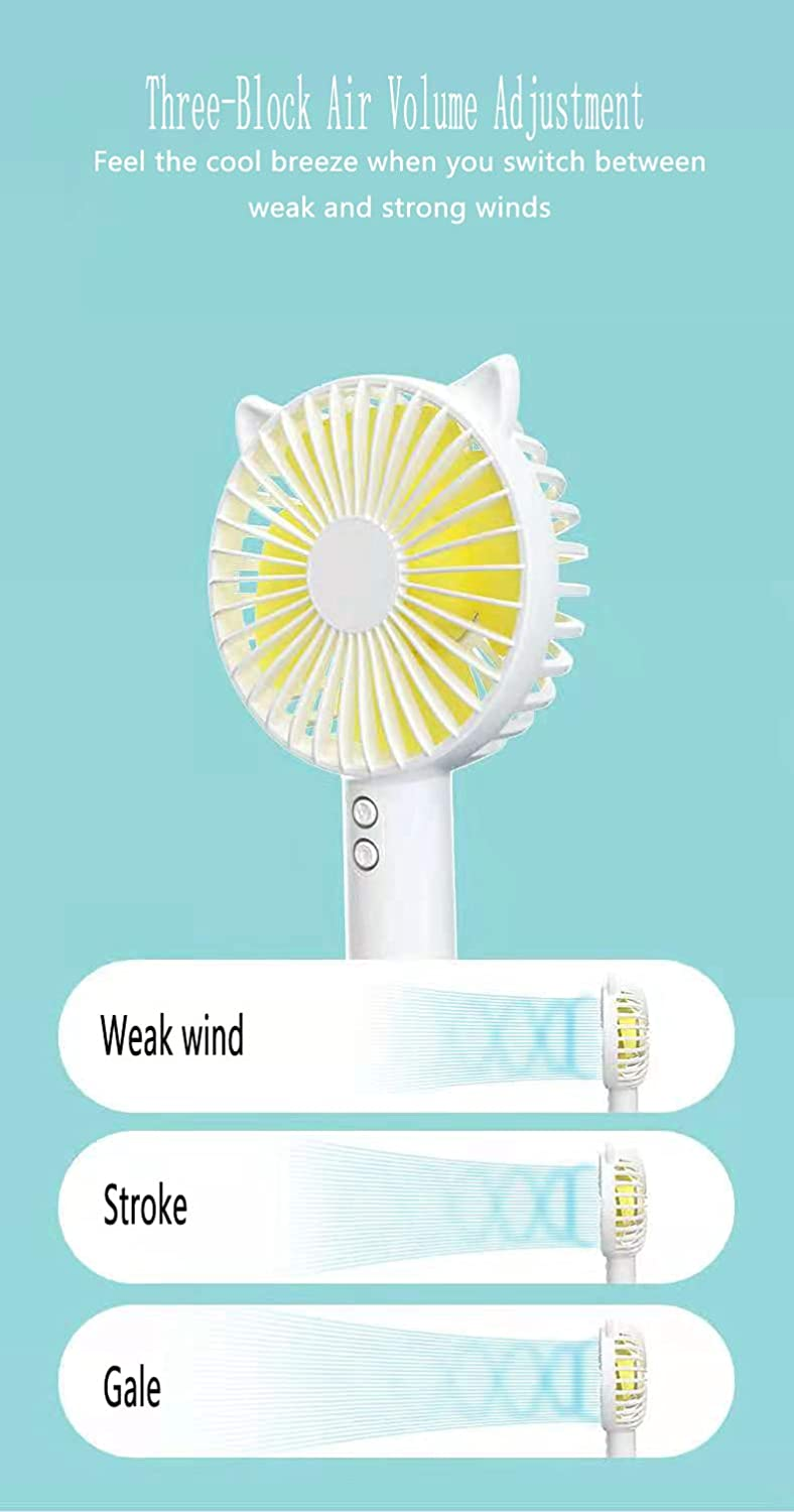 USB handheld electric fan 3-speed variable speed mini portable rechargeable desktop night light silent small electric fan, with battery, can hold mobile phone(Cherry blossom powder)