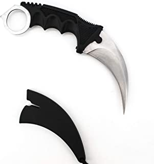 Wetop Karambit Knife, CS-GO for Hunting Camping Fishing Self Defenses and Field Survival, Stainless Steel Fixed Blade Tactical Knife with Sheath and Cord (Silver).