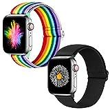 Neoxik intrecciato morbido e traspirante Cinturino compatibile per Apple Watch da 38mm 40mm 42mm 44mm, per Serise SE 6 5 4 3 2 1 , cinturino sportivo regolabile per uomini e donne