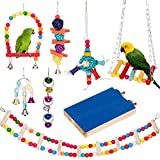 Bird Parrot Toys, Bird Swing Hanging Toy, Bird Cage Toys Hammock Bell Swing Ladder Perch Chewing Toys for Parrots, Parakeets, Cockatiels, Conures, Finches,Budgie,Parrots, Love Birds, Small Birds