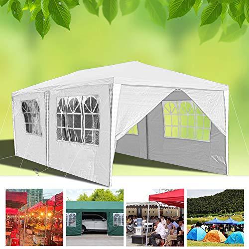wolketon Pavillon Wasserdicht Gartenpavillon mit Seitenwände Polyethylen Bierzelt Tür mit Reisverschluss für Garten Party Hochzeit (3x6M, Weiß)