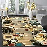 DPJS Tapis Rug Rétro Abstrait Coloré Cercle Chambre Porte Salon Cuisine Plancher De Sol De Chambre pour Enfants Pad,45x75cm