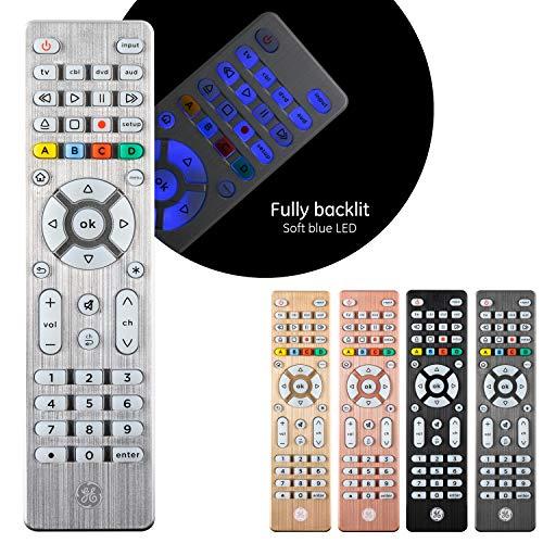 GE Backlit Universal Remote Control for Samsung, Vizio, LG, Sony, Sharp, Roku, Apple TV, RCA, Panasonic, Smart TV, Streaming Players, Blu-Ray, DVD, Simple Setup, 4-Device, Silver, 48844