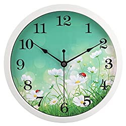 hito Silent Floral Wall Clock Non Ticking 10 inch Excellent Accurate Sweep Movement Glass Cover, Decorative for Kitchen, Living Room, Bathroom, Bedroom, Office (Ladybugs White)