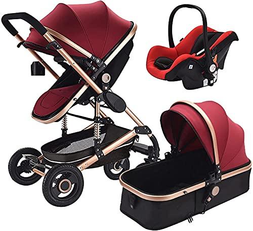 3 en 1 Cochecito de bebé multifuncional Multifuncional Cochecito de bebé PROM PROM PROM NUEVO TROLLEY NIÑO DOWNING TRAVEL CARRO DE BEBÉ (Color : Wine Red)