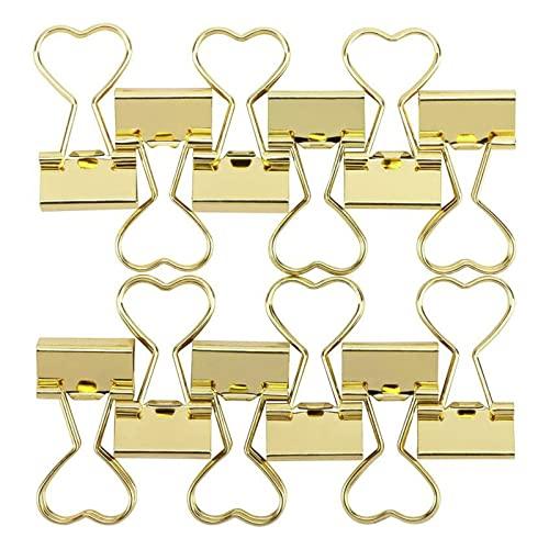 Foldback Klammern 19mm Gold Metall Vielzweckklammer Papier Herz Binder Clips für Notizen Briefpapier Clip Bürobedarf Büro Dokumenten (12 Stück)