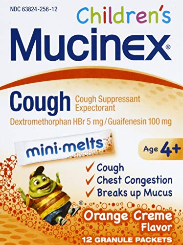 Mucinex Children's Chest Congestion Expectorant and Cough Suppressant Mini-Melts, Orange Cream, 12 Count (Packaging May…