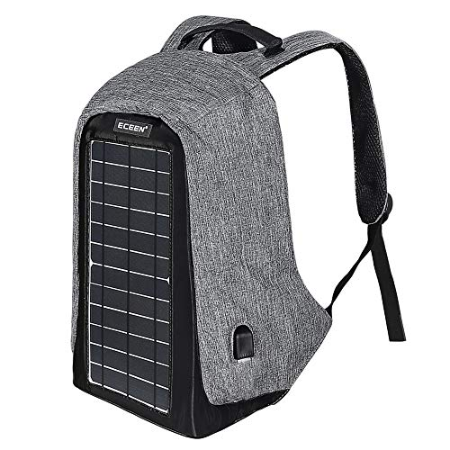 ECEEN Solar Backpack Anti-Theft Travel Laptop Backpacks Built-in 10 Watts Solar Panel with USB Charging Port Powered Smart Phones, Tablets, USB Devices Etc. for Back to School and Travel Outdoor
