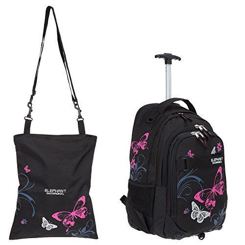 2 Teile Set: ELEPHANT Trolly Hero Signature Schultrolley 12680 + Turnbeutel Attach Bag (Butterfly BLK PINK)